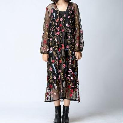 花柄刺繍 シースルー レース シフォン マキシワンピース Vネック FS019101