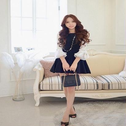 韓国 お姫様 ワンピース Aライン お出かけ パーティードレス FY002301