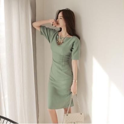 韓国ドレス スリット ペールグリーン ワンピース パーティー 謝恩会 婚活 FS015001