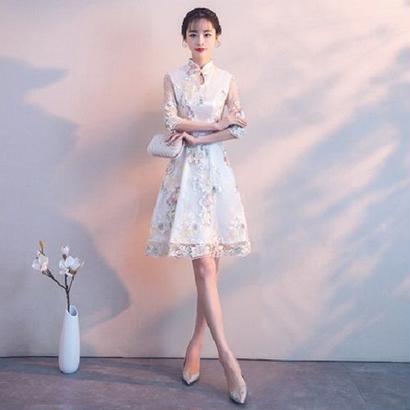 韓国ドレス 花柄レース チャイナドレス ハイネック パーティードレス FS062801