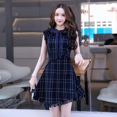 お嬢様パーティードレス 韓国ワンピース チェック柄 ノースリーブ タイト ネックリボン 可愛い FS077001
