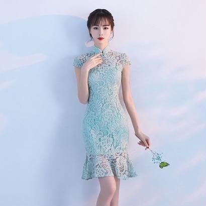 韓国ワンピース フィッシュテール 花柄レース Aライン パーティードレス お呼ばれ FS064201