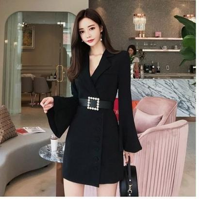 パーティードレス 韓国ワンピース ウエストベルト ゆったり袖 可愛い フォーマル FS103001