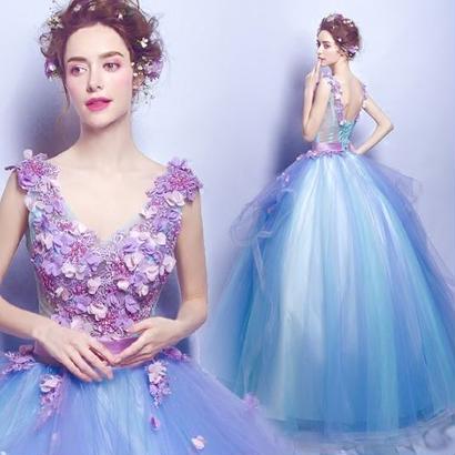 幻想的 ロングドレス ファンタジー マキシワンピース 結婚式 お呼ばれ FS052101
