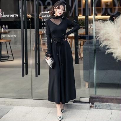 ロングドレス 韓国ワンピース メッシュネック お呼ばれ お出かけ FS109401