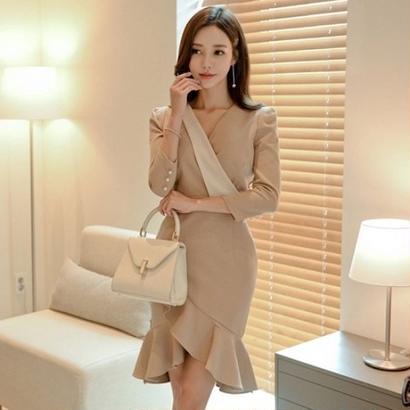 お嬢様ワンピース 韓国ワンピース アシンメトリースカート 可愛い お呼ばれ 食事会 FS105701