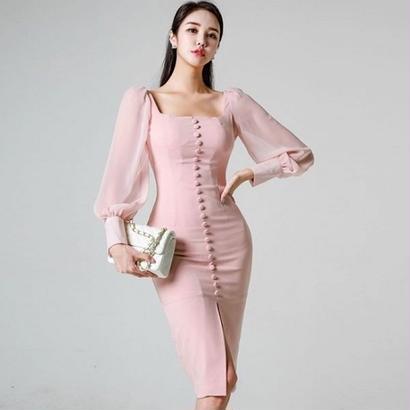 パーティードレス 韓国ワンピース デコルテ セクシー ボリューム袖 個性的 FS099201