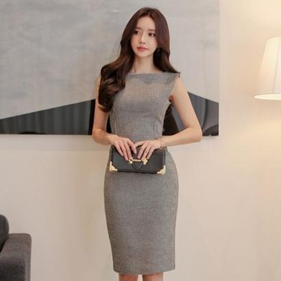 千鳥格子 ワンピース 韓国ワンピース オフィススタイル OL 仕事 デート FS073801