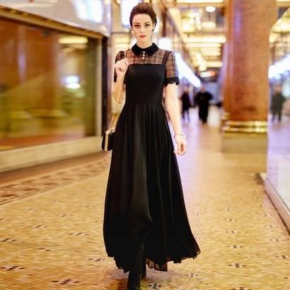マキシワンピース ロングドレス パーティードレス ナイトドレス 大人コーデ 黒 ブラック FS042101