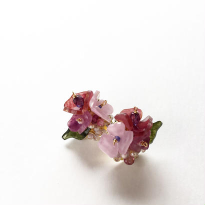ブーケピアス 花 ピンク紫 受注制作