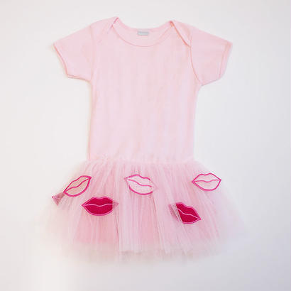Lip tulle T-dress PK
