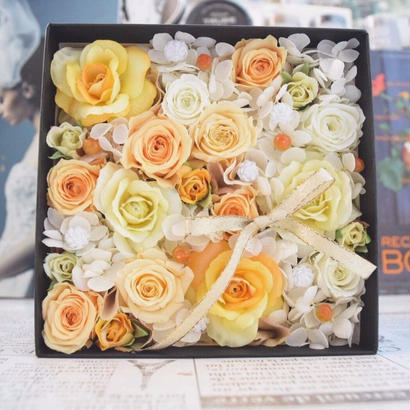 【新作】BOX FLOWER Orange×Yellow