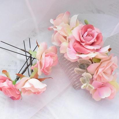 【2周年記念キャンペーン】フラワーヘアパーツ【ライトピンク】