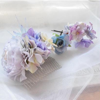 【2周年記念キャンペーン】フラワーヘアパーツ【ブルー②】