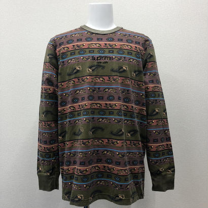 Used Supreme Paisley Stripe L/S Top