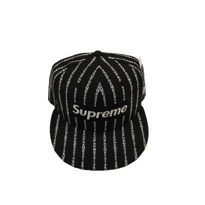 Supreme Text Stripe New Era Cap Black