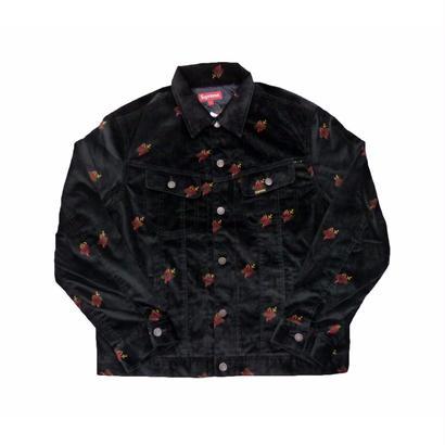 Supreme Velvet Trucker Jacket (Black Sacred Hearts)