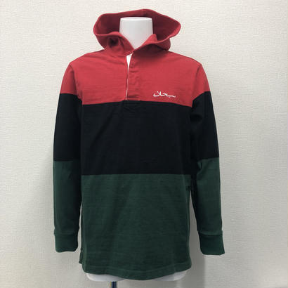 Used Supreme Block Striped Hooded Rugby