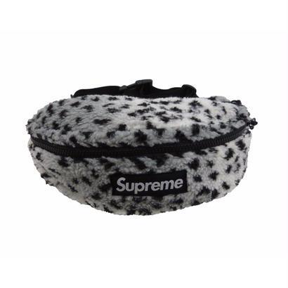 Supreme Leopard Fleece Waist Bag (White)