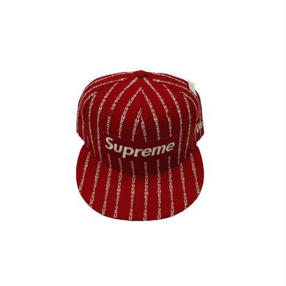 Supreme Text Stripe New Era Cap Red