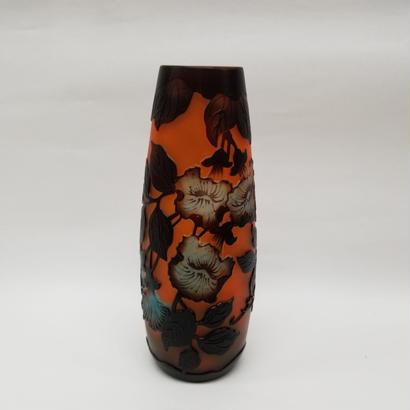 ガレスタイルガラス花瓶 花柄円筒細型花瓶オレンジ