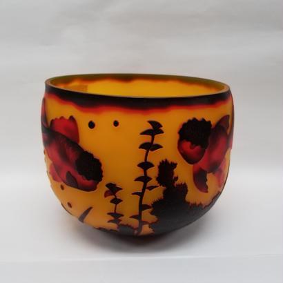 ガレスタイルガラス花瓶 ランチュウ柄深型中鉢黄