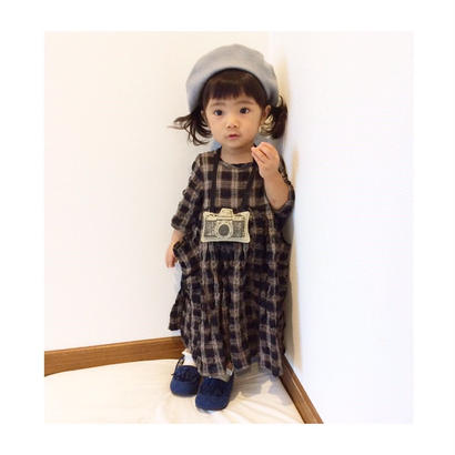 【再入荷】black check dress