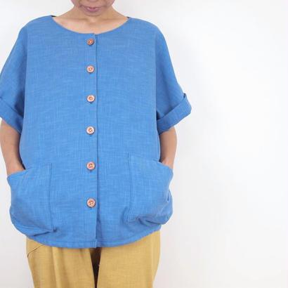 Furusuボタンシャツ(木綿 天色)【受注生産対応】