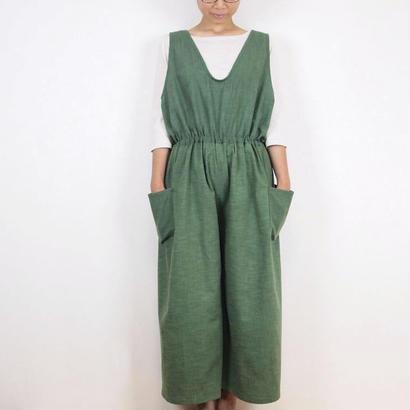 Kimamaジャンパーキュロット(木綿 深緑)【受注生産対応】