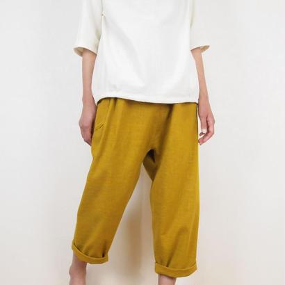 Kimama七分丈パンツ(木綿 からし)【受注生産対応】