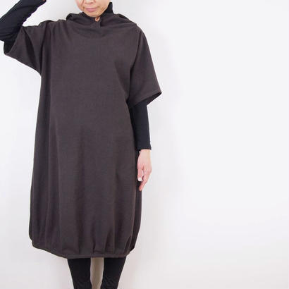 Kimamaフードバルーンワンピース(木綿 錆紫)【受注生産対応】