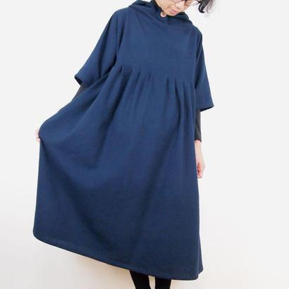 Kimamaフードワンピース(木綿 濃紺)【受注生産対応】