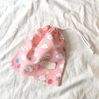 巾着のH22×W20#もくもく雲pink