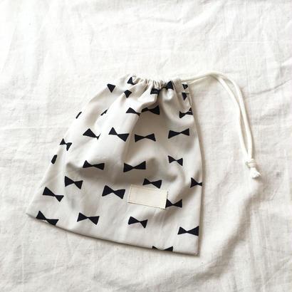 巾着袋H22×W20#リボンwhite
