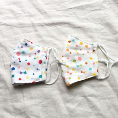 子供用4重ガーゼ立体マスク2枚セット#まる、さんかく、リボン