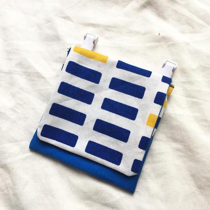 蓋ありコンパクト移動ポケット#ラティスblue&yellow