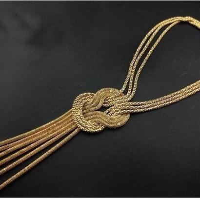 ゴールドメッキロングタッセルネックレスセーターチェーン