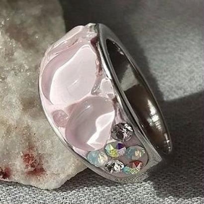 ∞さざれ水晶ring(約10ミリ幅)