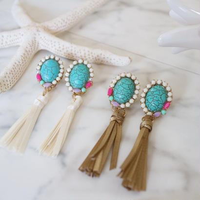 boho fringe pierce&earring