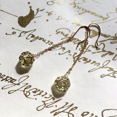 Lemon Quartz & K10YG Pierced Earrings