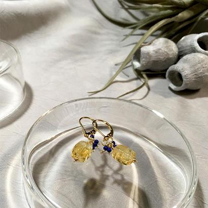 Clear Eme - Pierced Earrings and Earrings - Citrine, Lapis