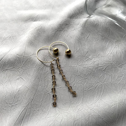 Hoop Pierced Earrings - Smoky Quartz