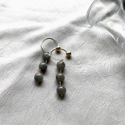 Hoop Pierced Earrings - Labradorite