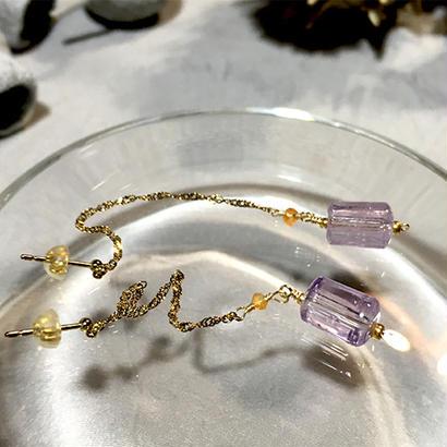 Column - Pierced Earrings and Earrings - Amethyst, Carnelian