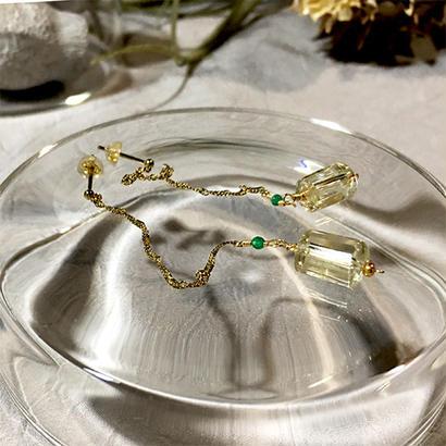 Column - Pierced Earrings and Earrings - Lemon, Green agate