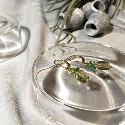 Clear Eme - Pierced Earrings and Earrings - Lemon, Green