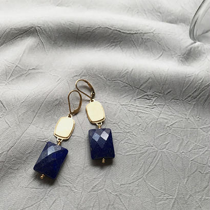 Silhouette -Pierced Earrings -Lapis