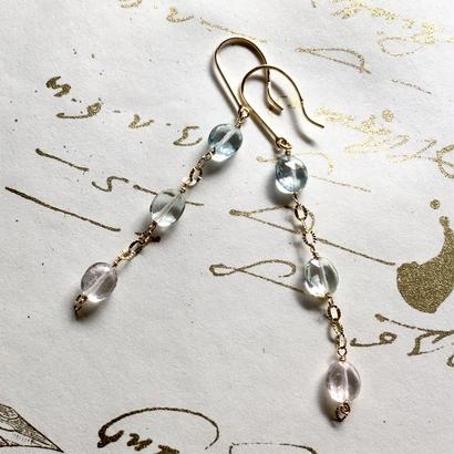 Aquamarine & K10YG Pierced Earrings - pink