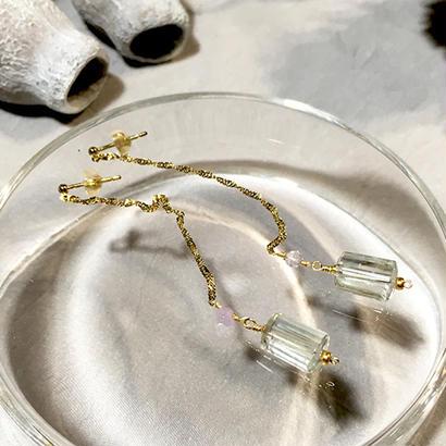 Column - Pierced Earrings and Earrings - Green amethyst, LV
