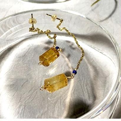 Column - Pierced Earrings and Earrings - Citrine, Lapis